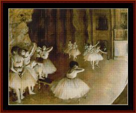 ballet rehearsal on stage - degas cross stitch pattern by cross stitch collectibles