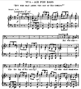 thus said the lord... but who may abide the day of his coming. aria for bass. g.f.haendel: messiah, hwv 56. vocal score, ed. schirmer (spicker-noble). 1912