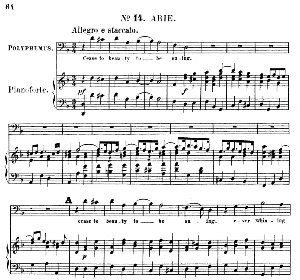 cease to beauty to be suing. aria for bass (polyphemus). g.f.haendel: acis and galatea, hwv 49. vocal score (g.gervinus), ed. peters