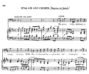Rejoice, oh Judah And in songs divine. Aria for Bass (Simon). G.F.Haendel: Judas Maccabaeus, HWV 63. Vocal Score, Ed. Schirmer (F. Van der Stucken). 1908. | eBooks | Sheet Music