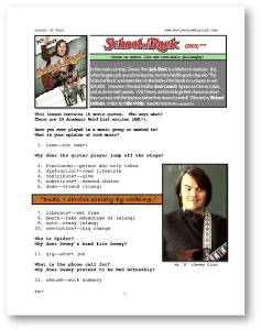 school of rock, whole-movie english (esl) lesson