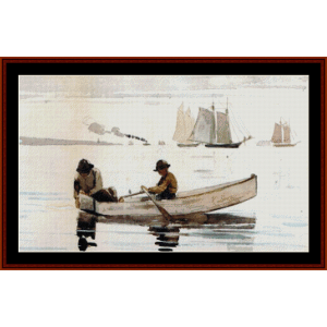 Boys Fishing - Homer cross stitch pattern by Cross Stitch Collectibles | Crafting | Cross-Stitch | Wall Hangings