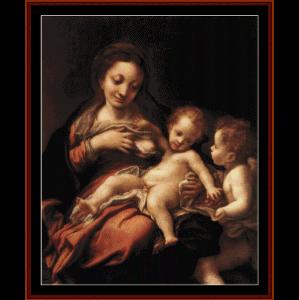 madonna del latte, 1524 - correggio cross stitch pattern by cross stitch collectibls