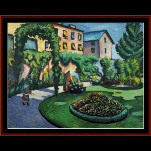 gardenbild - macke cross stitch pattern by cross stitch collectibles