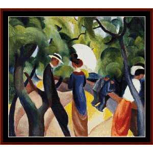 promenade - macke cross stitch pattern by cross stitch collectibles