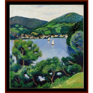 view of tegernsee - macke cross stitch pattern by cross stitch collectibles