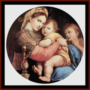 madonna della seggiola - raphael cross stitch pattern by cross stitch collectibles