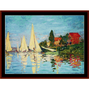 regatta at argenteuil - monet cross stitch pattern by cross stitch collectibles