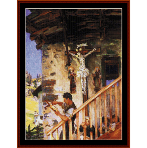tyrolese crucifix - sargent cross stitch pattern by cross stitch collectibles