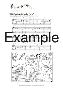 bundle of nursery rhyme sheet music and colouring pages