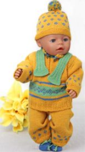 dollknittingpatterns - 0110d gina - sweater, pants, short-sleeved sweater, scarf, hat and socks