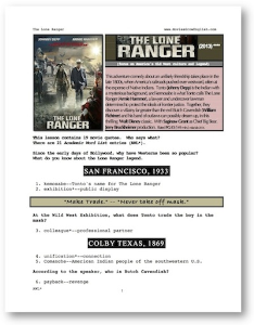 the lone ranger, whole-movie english (esl) lesson