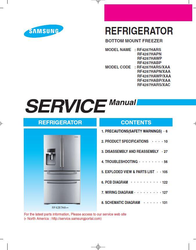Samsung rf4287hars rf4287habp rf4287hawp rf4287hapn re.