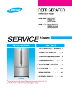 Samsung RFG293HAWP Refrigerator Original Service Manual Download | eBooks | Technical