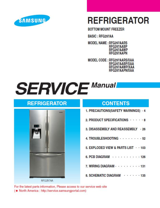 First Additional product image for - Samsung RFG297AAWP Refrigerator Original Service Manual Download