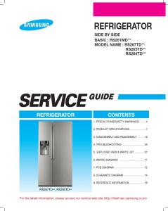 Samsung RS267TDPN Refrigerator Original Service Manual Download | eBooks | Technical