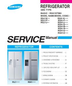 samsung rsh1dbrs refrigerator original service manual download
