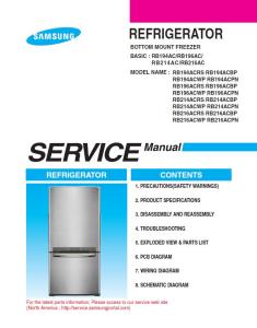 Samsung RB216ACRS Refrigerator Original Service Manual Download | eBooks | Technical