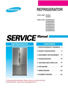 samsung rf266aepn refrigerator original service manual download