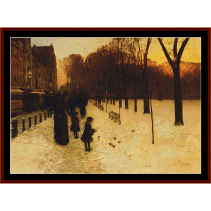 boston common at twilight - childe-hassam cross stitch pattern by cross stitch collectibles