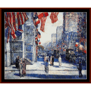 early morning on the avenue - childe-hassam cross stitch pattern by cross stitch collectibles