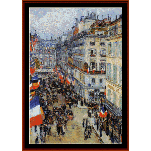 july 14, rue daunou - childe-hassam cross stitch pattern by cross stitch collectibles