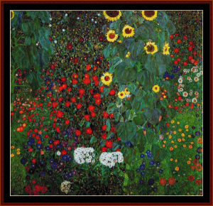 farm garden with sunflowers ii - klimt cross stitch pattern by cross stitch collectibles