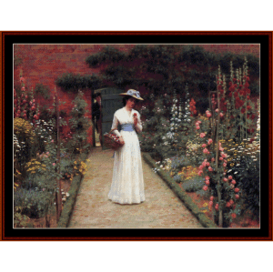 lady in a garden - leighton cross stitch pattern by cross stitch collectibles