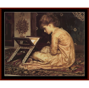 study at a reading desk - leighton cross stitch pattern by cross stitch collectibles