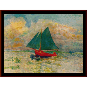 red boat with blue sails - redon cross stitch pattern by cross stitch collectibles