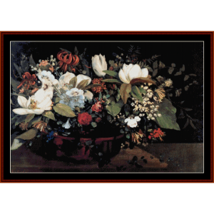 basket of flowers - courbet cross stitch pattern by cross stitch collectibles