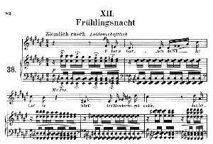 frühlingsnacht op.39 no.12, medium voice in f sharp major, r. schumann (liederkreis), c.f. peters