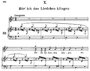 hör' ich das liedchen klingeln op 48 no.10, medium voice in g minor, r. schumann (dichterliebe), c.f. peters