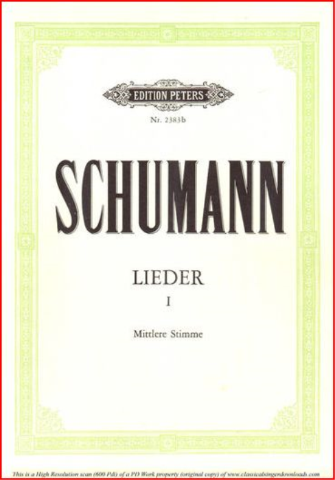 First Additional product image for - ich wand're nicht Op 51 No.3, Medium Voice in G Major, R. Schumann, C.F. Peters