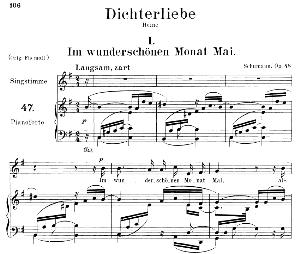 im wunderschönen monat mai op.48 no.1, medium voice in e minor, r. schumann (dichterliebe). c.f. peters