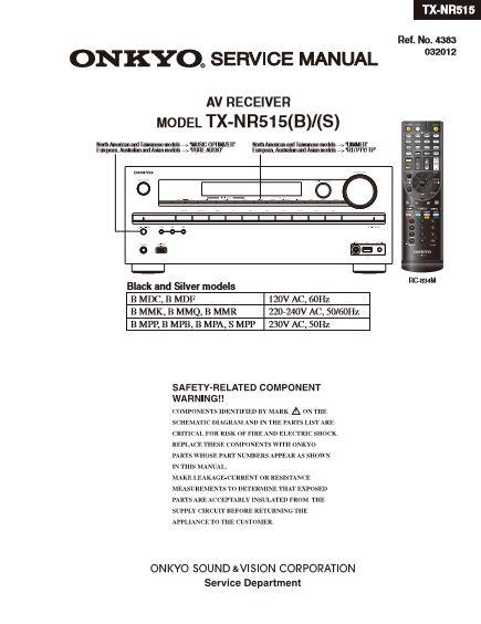 Onkyo TX-NR515 Receiver Original Service Manual Download | eBooks | Technical