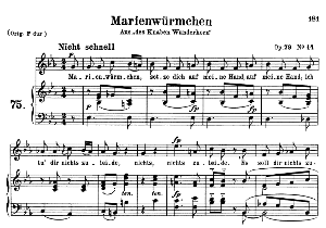 marienwürmchen op 79 no.14, medium voice in e flat major, r. schumann, c.f. peters