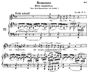 romanze ebro caudolose op.138 no.5, medium voice in d major (original key), r. schumann. c.f. peters