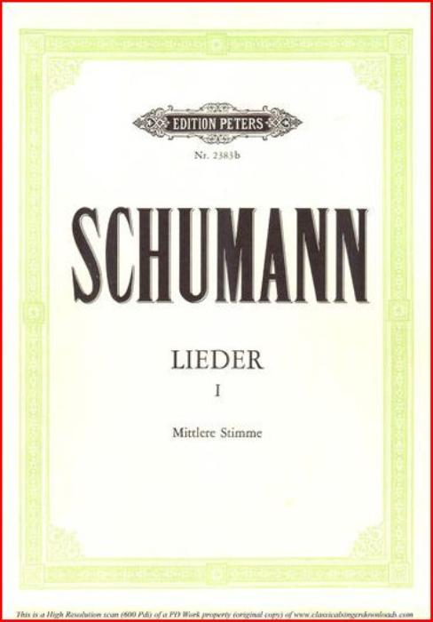 First Additional product image for - Süsser Freund, du blickest Op. 42 No.6, Medium Voice in G Major (Original Key), R. Schumann (Frauenliebe und-leben), C.F. Peters