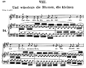 und wüssten's die blumen, die kleinen op.48 no.8, medium voice in f sharp minor, r. schumann (dichterliebe), c.f. peters