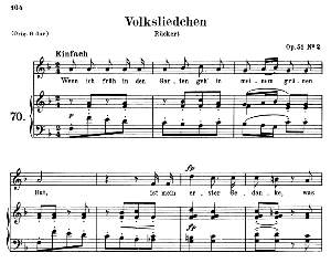volksliedchen op.51 no.2, medium voice in f major,  r. schumann, c.f. peters