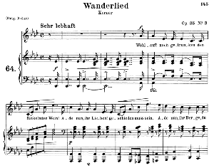wanderlied op.35 no.3, medium voice in a-flat major, r. schumann, c.f. peters