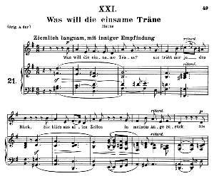 was will die einsame träne op.25 no.21, medium  voice in g major, r. schumann (myrthen), c.f. peters