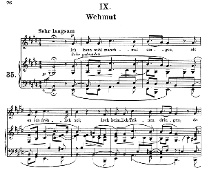 wehmut op.39 no.9, medium voice in e major, r. schumann (liederkreis), c.f. peters