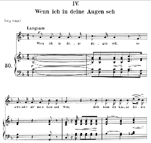 wenn ich in deine augen seh op. 48 no.4, medium voice in f major, r. schumann (dichterliebe), c.f. peters