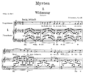 widmung op.25 no.1, medium voice in g flat major, r. schumann (myrten); c.f. peters