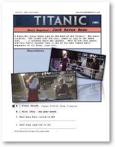 titanic, jack saves rose, short-sequence english (esl) lesson
