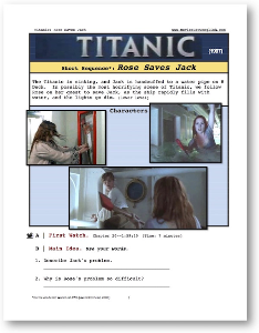 titanic, rose saves jack, short-sequence english (esl) lesson