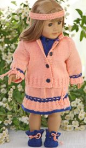dollknittingpatterns - 0112d inger lise - sweater, skirt, jacket, pants, socks and hairband
