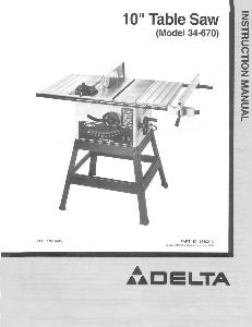 delta table saw model 34-670 user manual